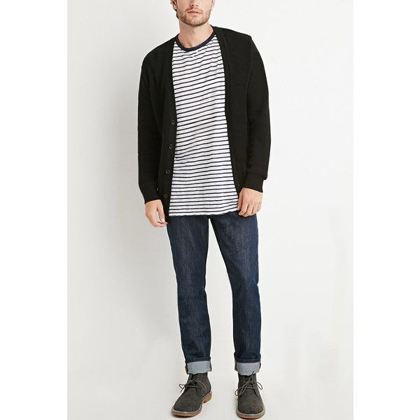 Forever 21 Men\'s Purl Knit Cardigan (74 BRL) ❤ liked on Polyvore ...