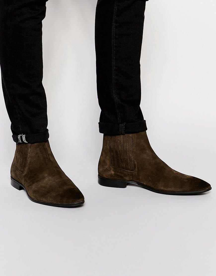 ASOS Chelsea Boots in Brown Suede With Concealed Elastic 81$