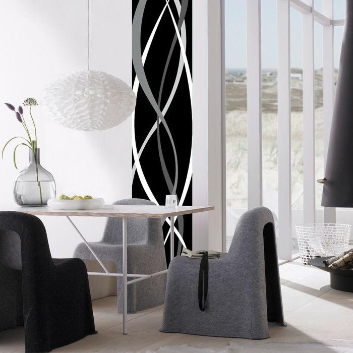 wandgestaltung schwarz weiß wohnzimmer einrichten blume | Pinterest ...