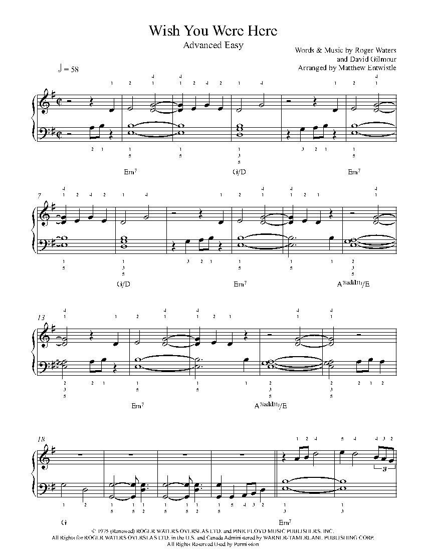 Wish You Were Here By Pink Floyd Piano Sheet Music Advanced Level Piano Sheet Music Sheet Music Piano Sheet