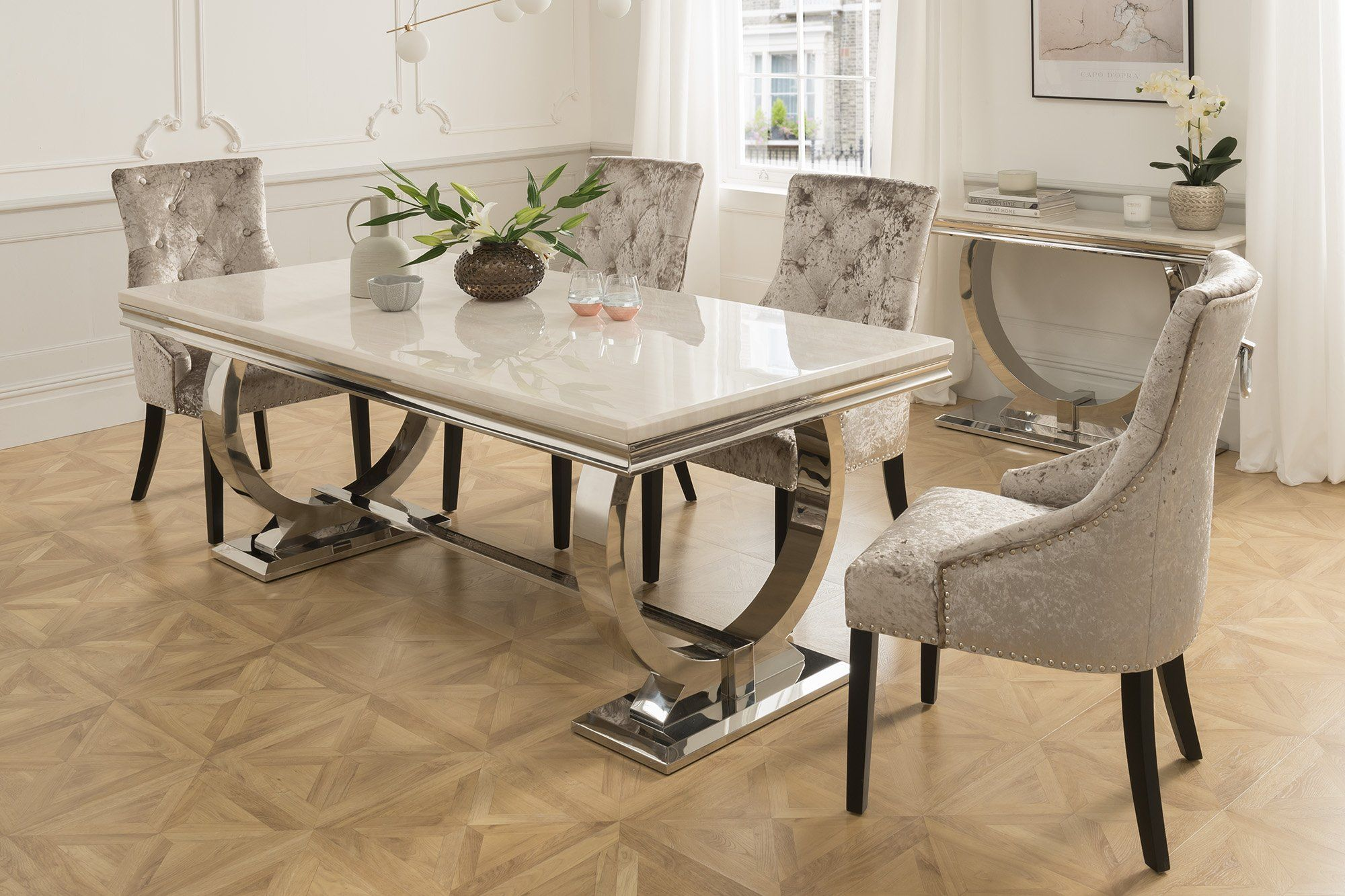 Arabella Dining Set With Standard Chairs 4or6 Chairs Mirrored