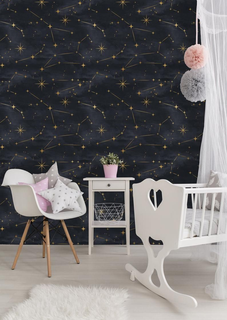 Removable Wallpaper Peel And Stick Wallpaper Self Adhesive Wallpaper Gold Stars On Black Background Peel And Stick Wallpaper Removable Wallpaper Gold Removable Wallpaper