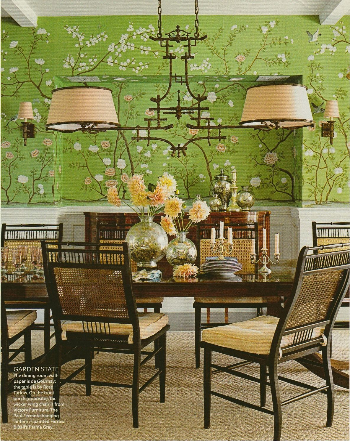 Chinoiserie Chic Chinoiserie Chic Green dining