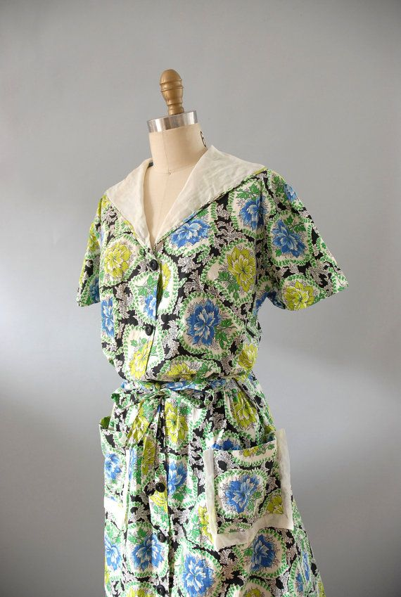 1940s Dress / 40s Cotton House Dress / Plus by wildfellhallvintage, $72.00