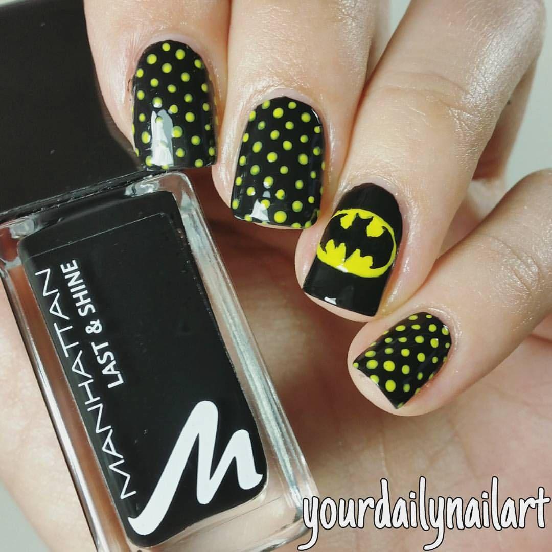 Crazy Nail Designs, Batman Nail Designs, Gel Nail Designs, Batman Nails,  Superhero - Pin By Natalie Fousek On Peach Hair Pinterest Nails, Nail Art