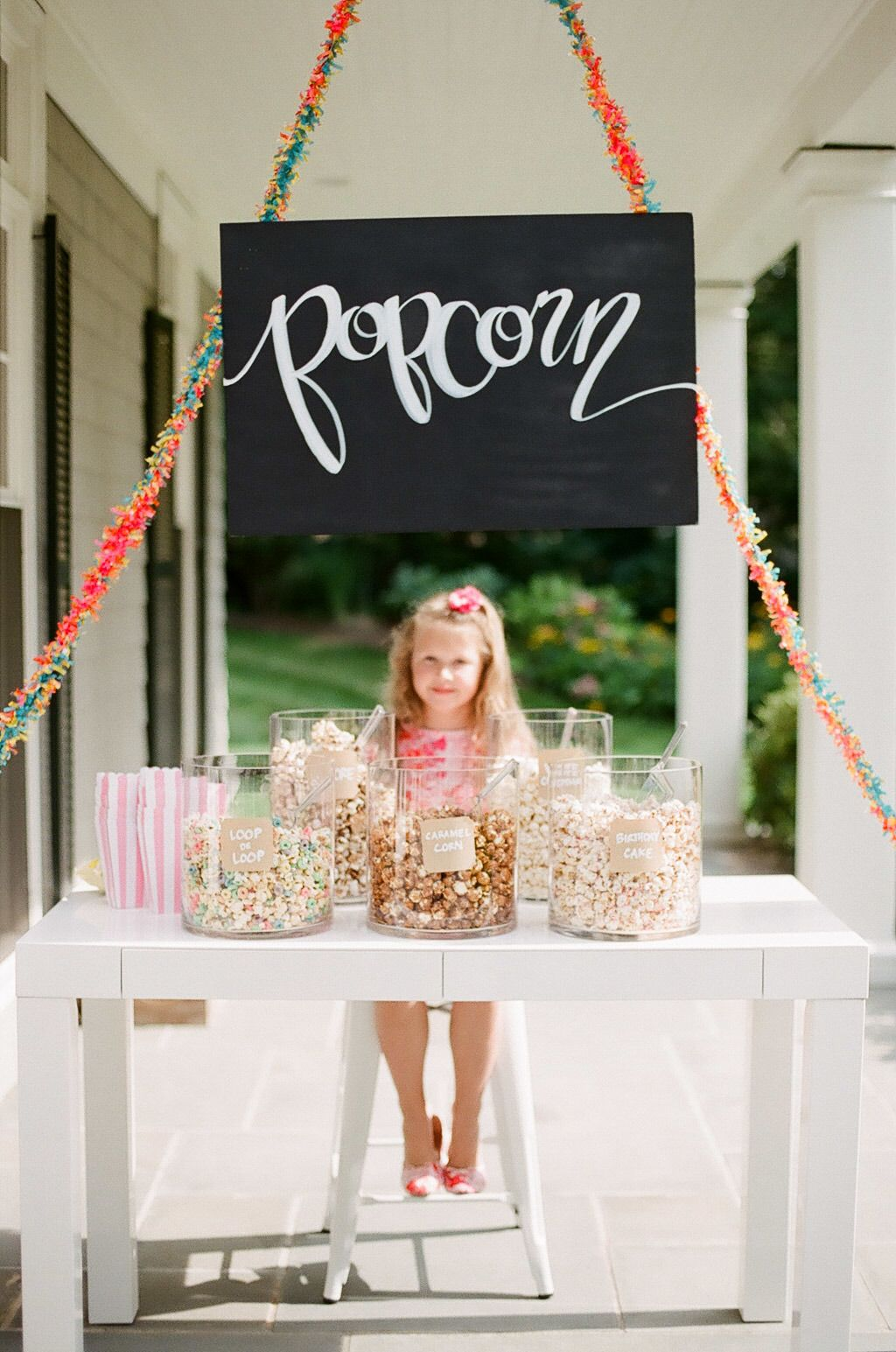 Popcorn bar for a party. How cute!