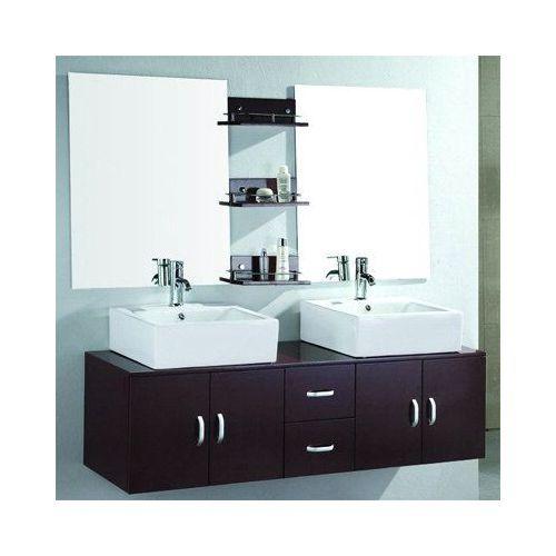 meuble salle de bain double vasque doubo doubo en design 1400mm marron - Meuble Salle De Bain Marron