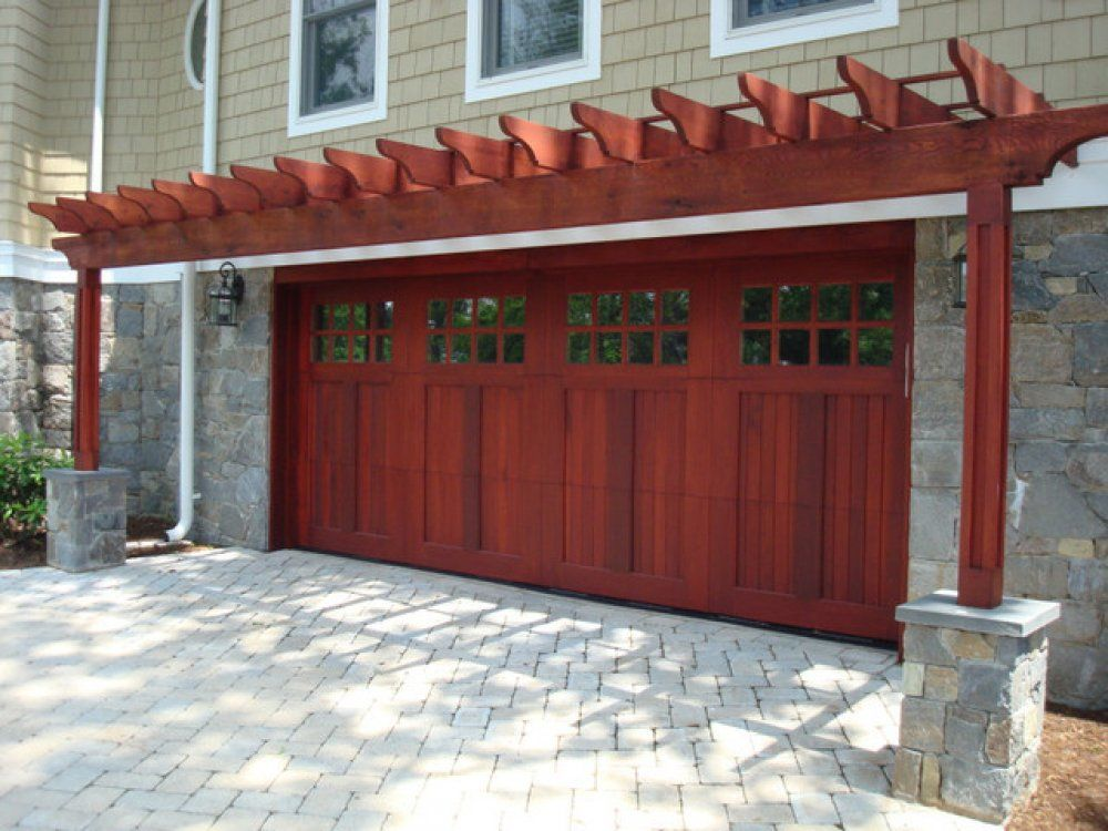 Hereu0027s An Extra Wide Wooden Garage Door With A Pergola Covering ...