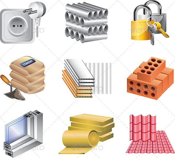 Building materials icons vector set graphicriver building - Material de construccion ...