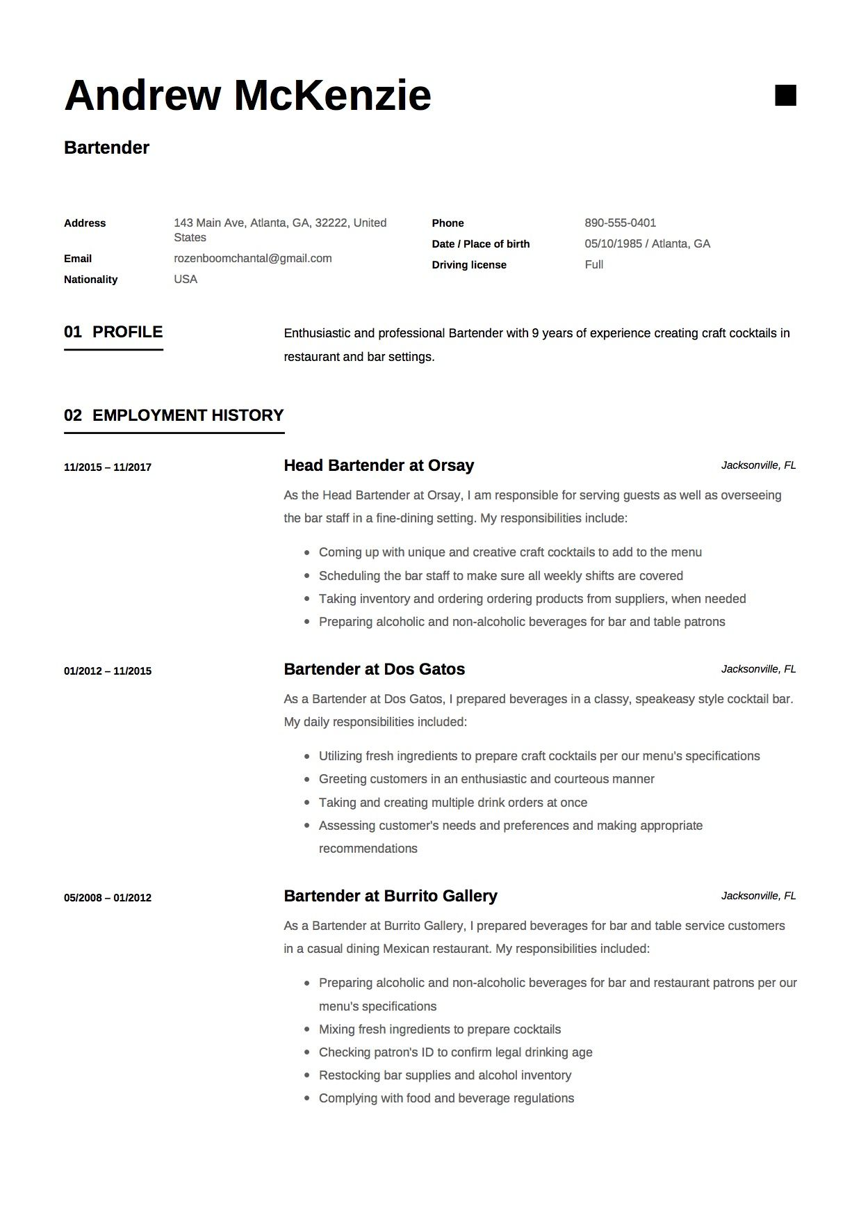 Free Bartender Resume Sample Template Example Cv Resume