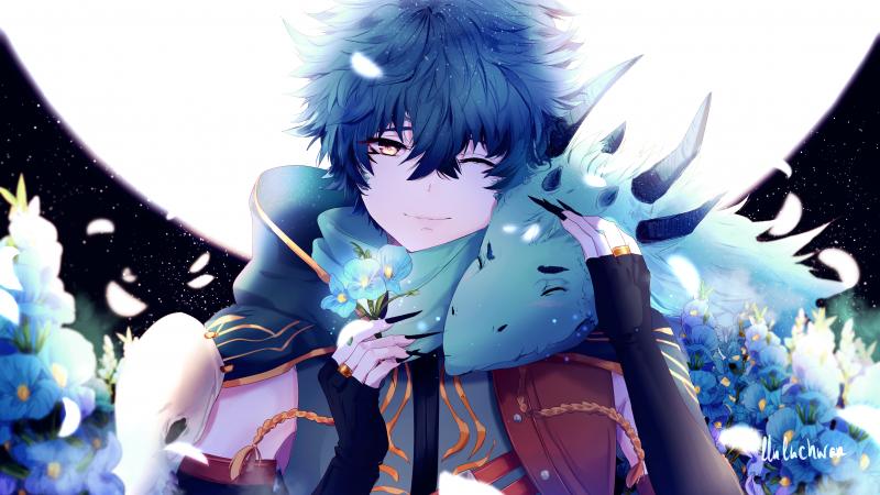 Anime Boy Dragon Blue Flowers 4k Cute Anime Boy Anime Wallpaper Phone Anime