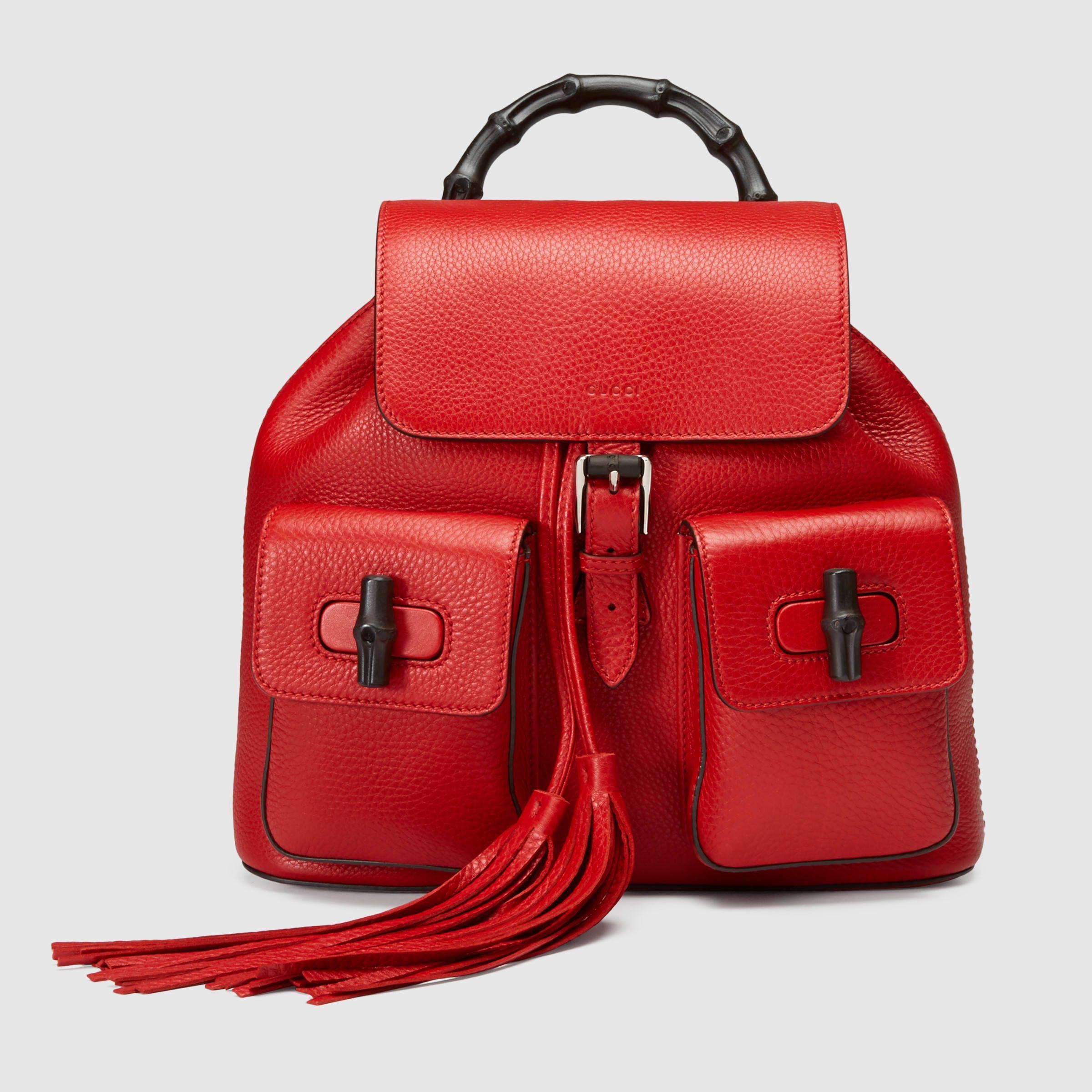 Gucci Women - Bamboo leather backpack - 370833A7M0N6433  f96e12886a54f