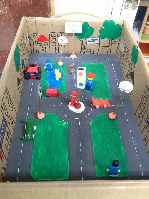 Diy carton City-Road signs project by my son | DIY | Diorama kids