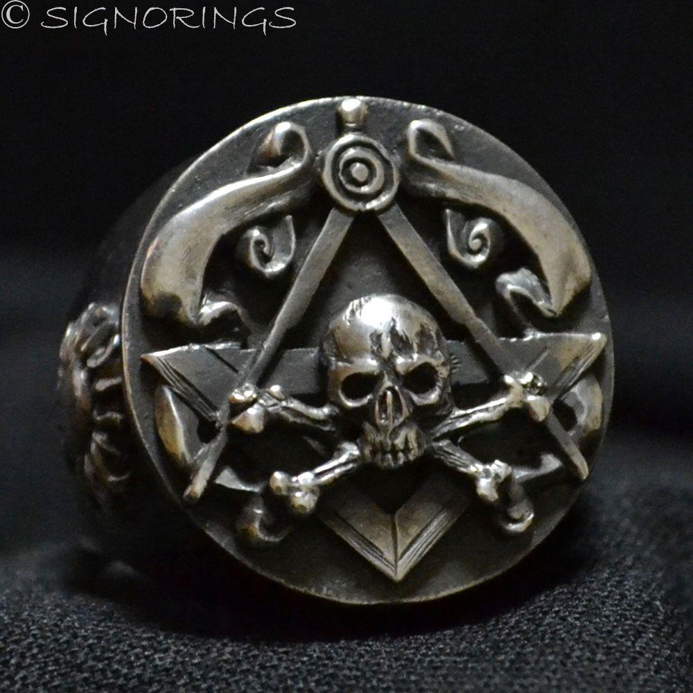 Phenomenal Freemason-masonic Sterling Silver Mens Skull