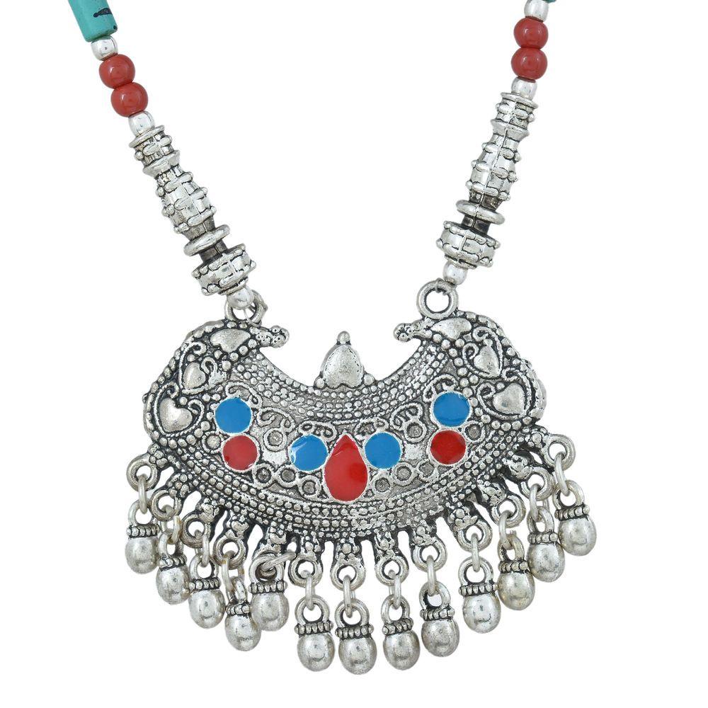 Ushagems Vintage Design Coral and Turquoise Beads Boho Tribal Necklace Jewelry #Ushagems #Tribal