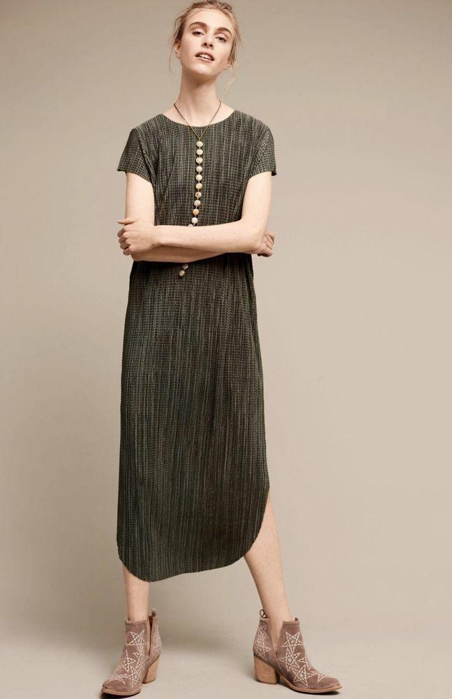 3248f924f08989 NEW Anthropologie Sabina Musayev green Silky Textured Midi Maxi Shift Dress  S #SabinaMusayev #shiftdressmidimaxishiftdressMaxi #versatile