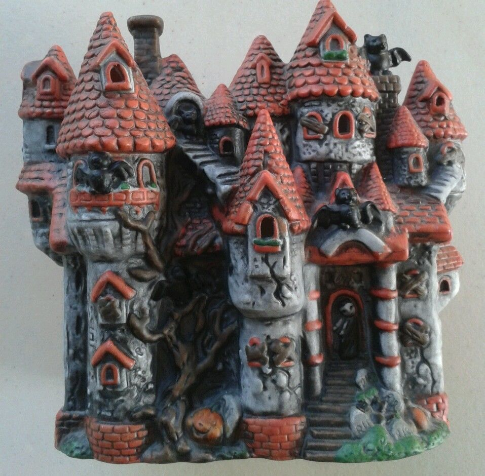 halloween ceramic haunted house electric light up - Light Up Halloween Decorations