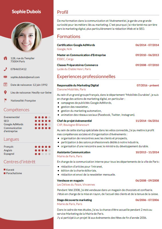 model de profil sur un cv  u2013 oneup