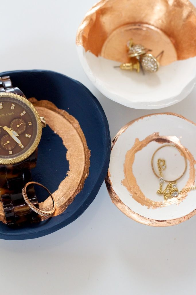 DIY Clay and Gold Leaf Jewelry Dishes Click image to review more