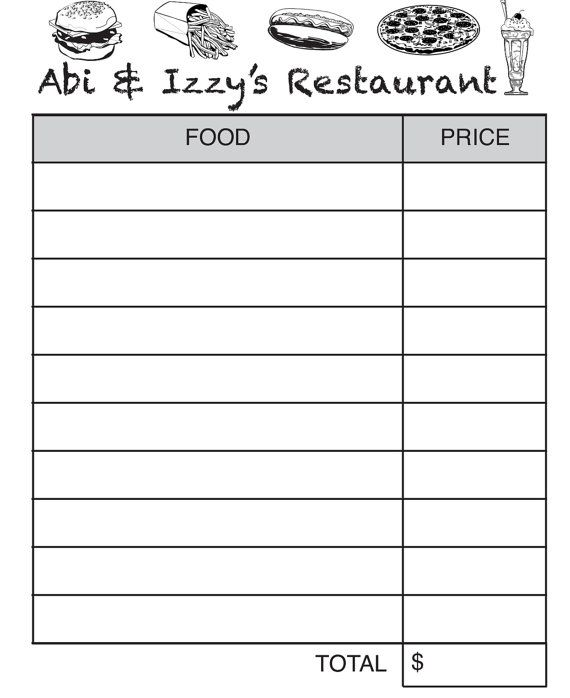 Personalized pretend Restaurant Order pads | My Etsy Designs ...