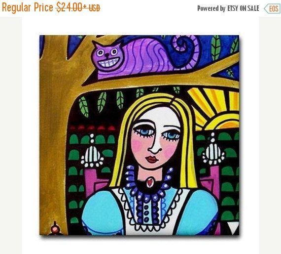 50% Off- Alice In Wonderland coaster Ceramic Tile Cheshire Cat