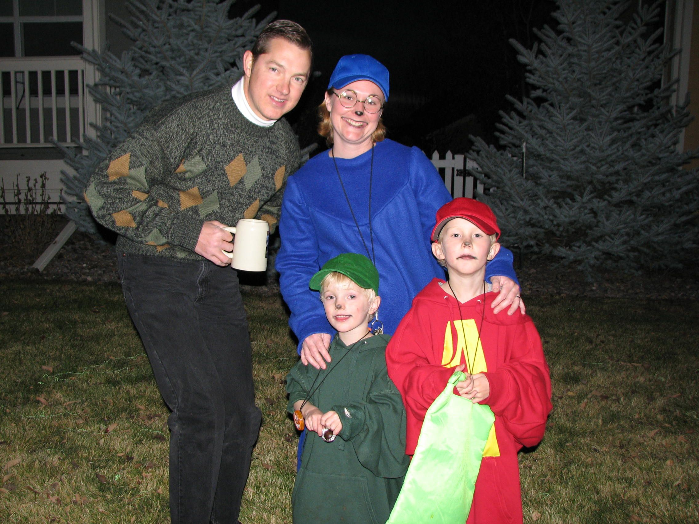 Halloween 2008 Alvin The Chipmunks And My Husband Was Dave Seville This Year Was Sup Boys Halloween Costumes Diy Boy Halloween Costumes Family Halloween