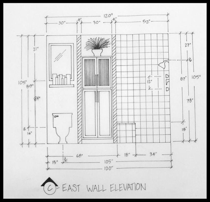 Kitchen Design Elevation: Architectural Drawing For Bathroom Plan