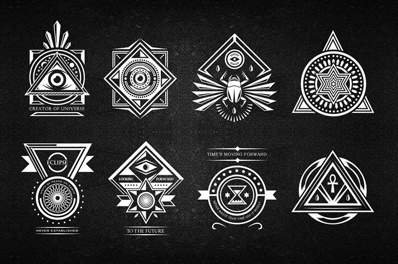Collection Of 10 Logos And Badges Inspired From Secret Society