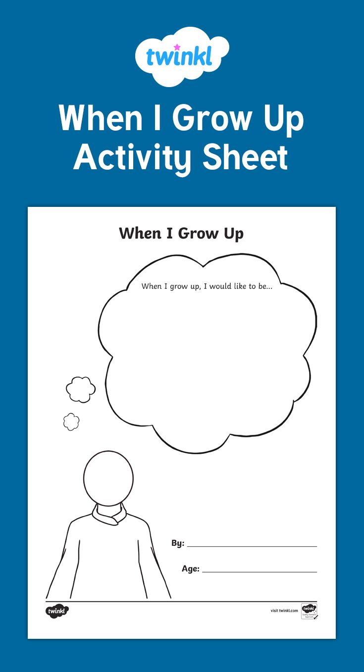 A Useful Activity To Encourage Children To Think About What They Would Like To Be When They Grow Up What Will The Growing Up When I Grow Up Teaching Resources