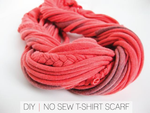 Turn old, soft T-shirts into a scarf! DIY | No Sew T-Shirt Scarf