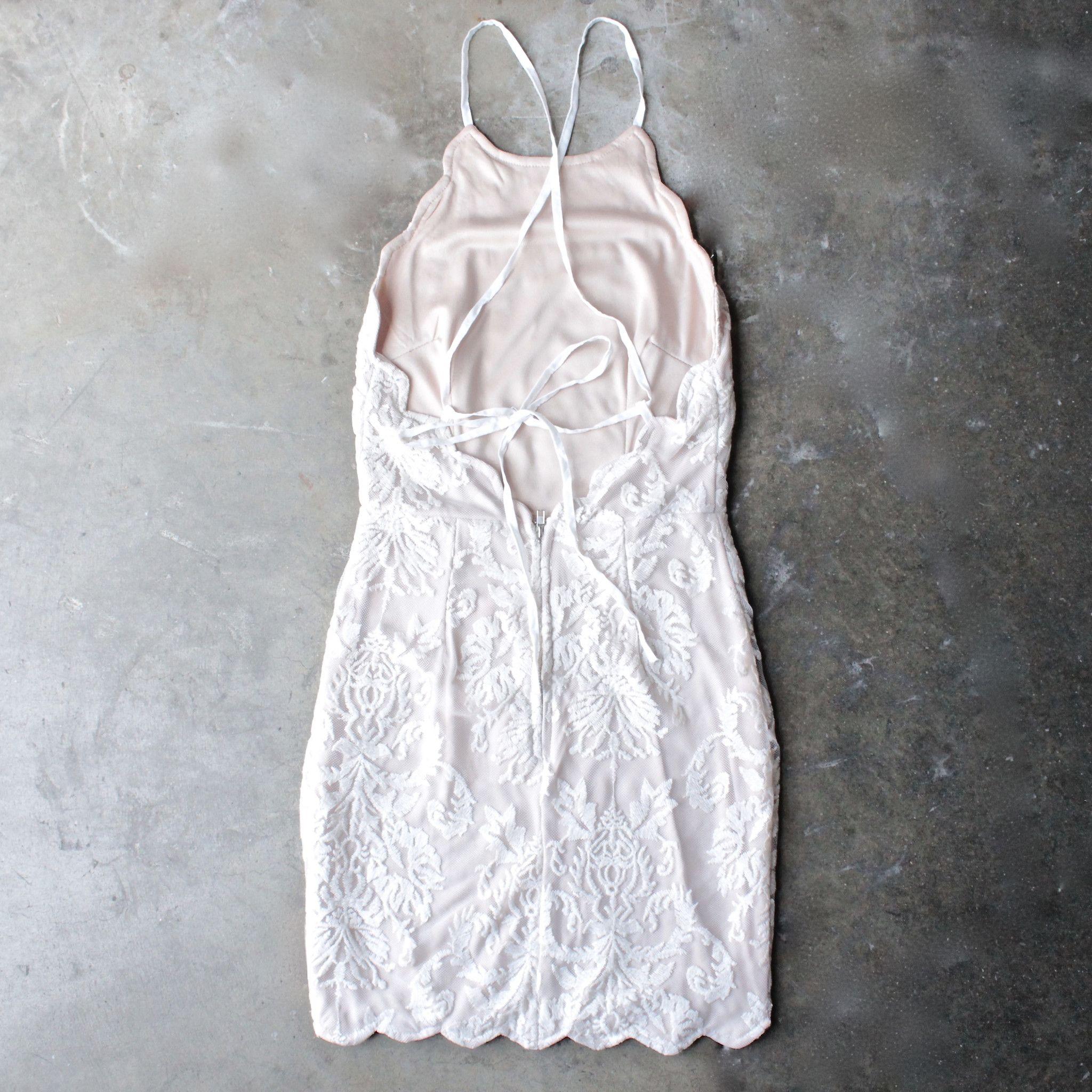 Up all night scallop edge lace dress cream scalloped edge lace