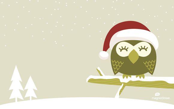 Freebie Friday Christmas Owl Wallpaper Christmas Owls Owl Wallpaper Christmas Desktop Wallpaper