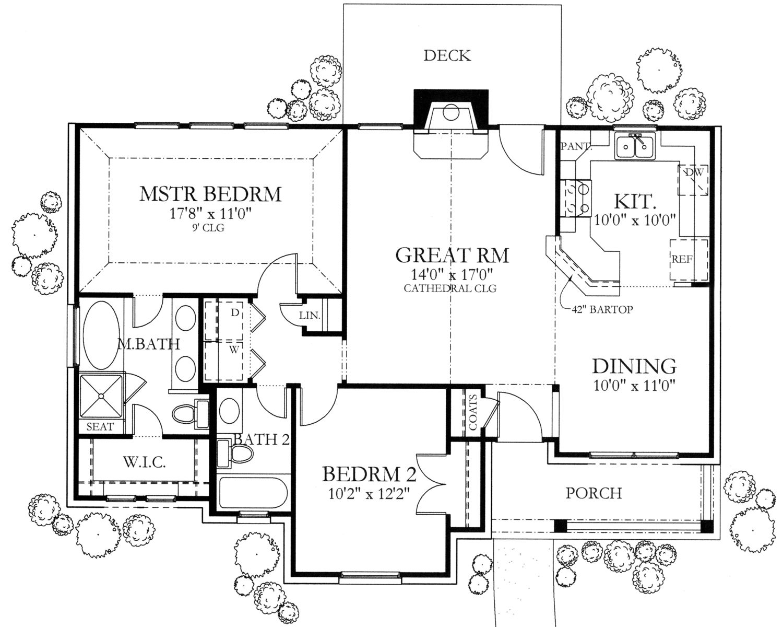 Texas Style Home Plan 2 Bedrms, 2 Baths 1092 Sq Ft