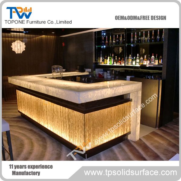 L Shape Artificial Marble Stone Led Bar Counter Furniture Modern