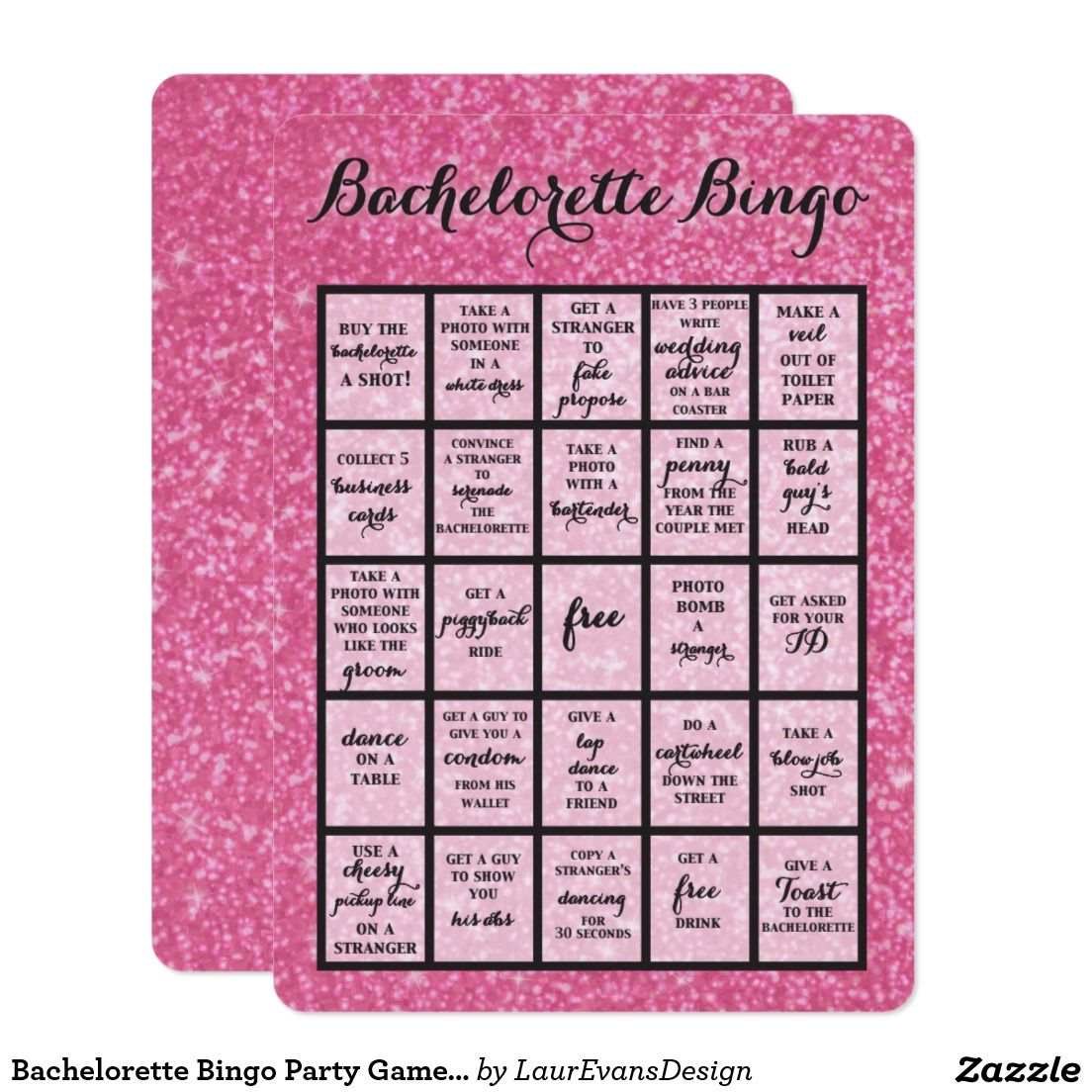 Bachelorette Bingo Party Game in Hot Pink Card | Bingo party, Pink ...
