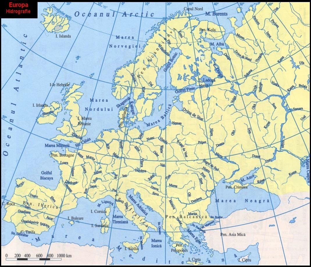 Harta Hidrografica Harta Europa Map Geography World Map