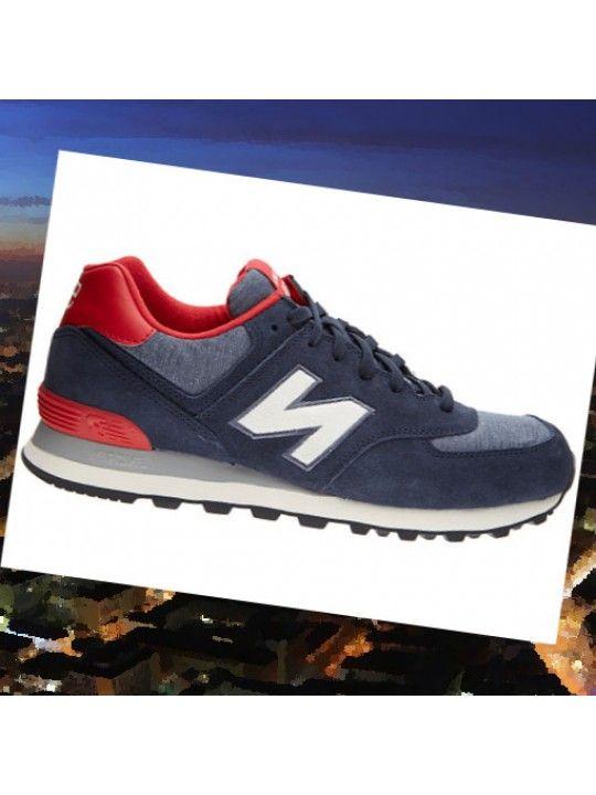 chaussures new balance 574 gris bleu marine orange
