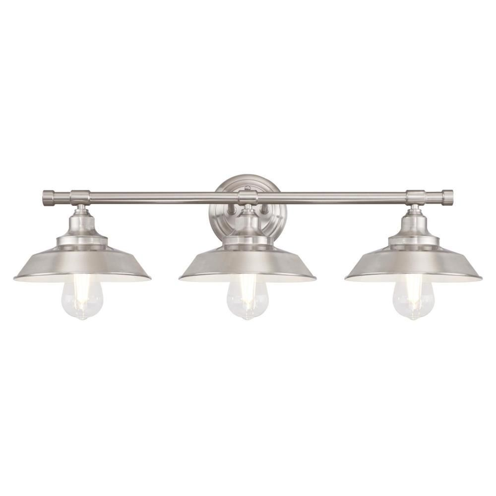 Westinghouse Iron Hill 3 Light Brushed Nickel Wall Mount Bath