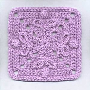 "Buttons & Bows Motif - Free crochet 6.5"" square pattern by Dot Drake"