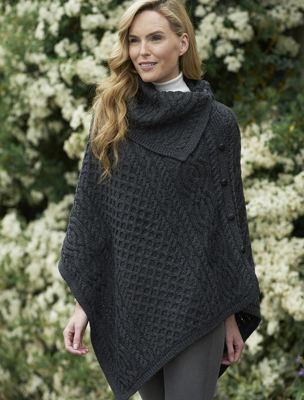 Knitted poncho with buttons pure wool hand knitted cape wool hand knitted