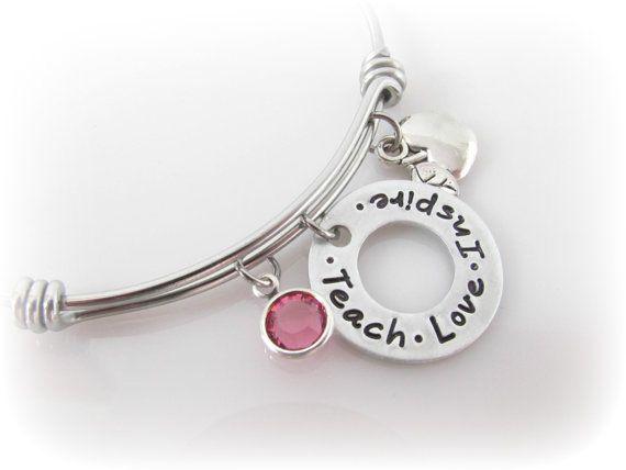 Teacher Bracelet Charm Bangle Teach Love Inspire by tkiDesigns
