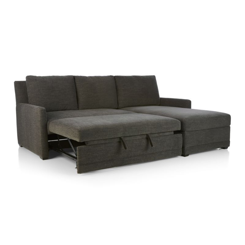 reston 2-piece sleeper sectional sofa - crate and barrel | sleeper