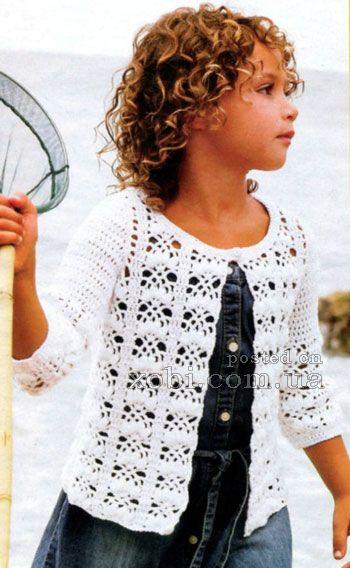 белый летний жакет для девочки с фантазийным узором 6 лет Crochet