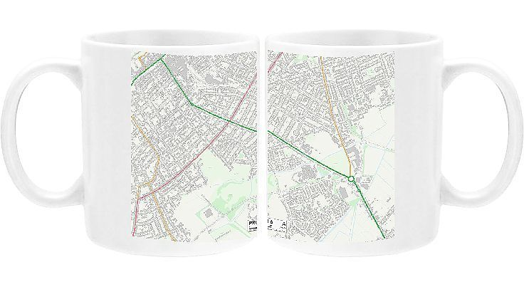 Mug Sefton PR8 6 Map Ceramic dishwasher safe mug made in the UK