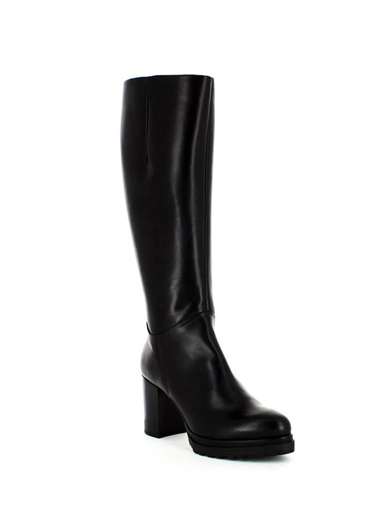BOOTS BERNA: Leather boot with side zip, rubber and leather sole, heel high 70mm