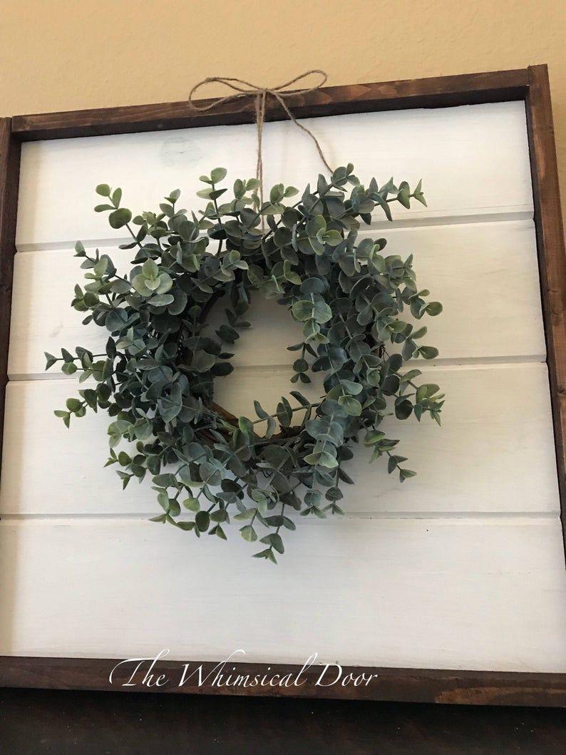 Photo of Boxwood eucalyptus-Farmhouse wreath – eucalyptus wreath – boxwood wreath – mini wreath – candle ring – wreaths for front door
