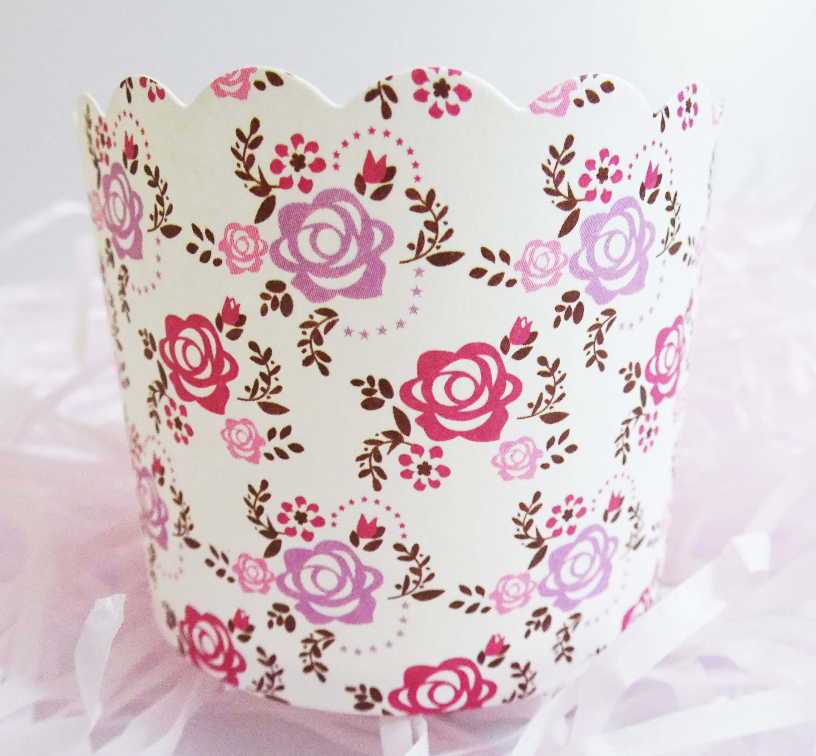 Bridal Bliss Roses Baking Cups for Cupcakes & Muffins