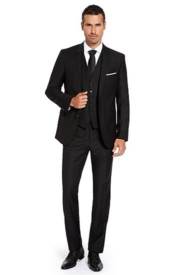 727a2e9f0 'The James/Sharp WE' | Regular Fit, Super 100 Virgin Wool 3-Piece Suit by  BOSS. Love 3 piece suits, especially one in this deep black.