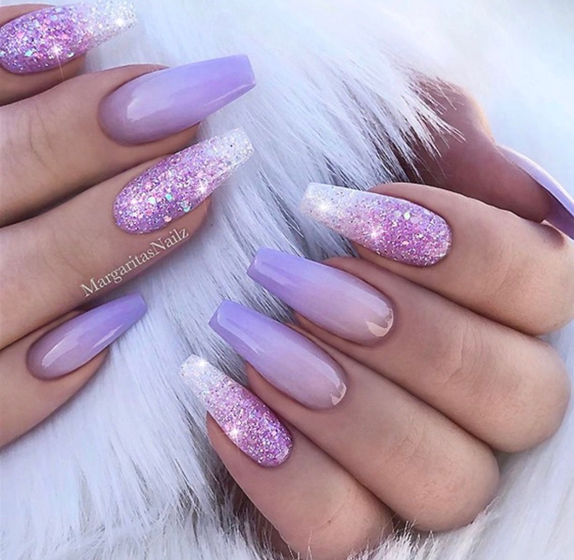 Lilac Lavender Nails With Images Lilac Nails Design Lilac Nails Ombre Nails Glitter