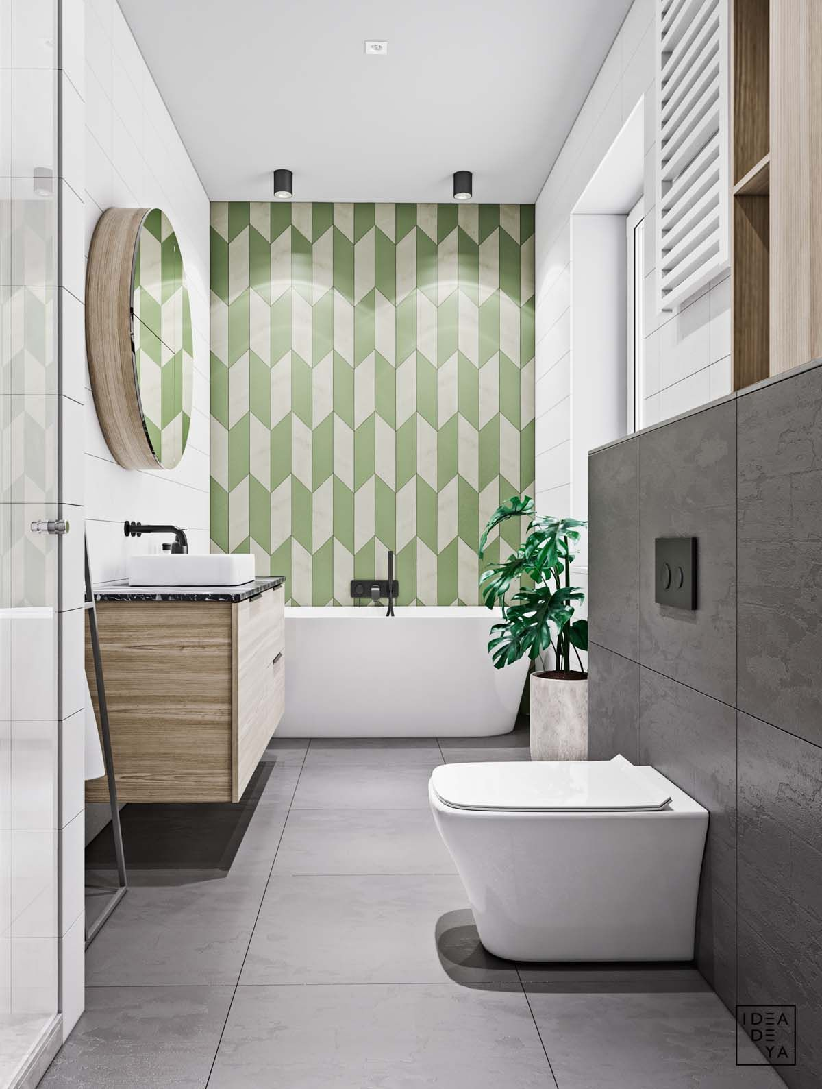 Unusual Home Layout With Creative Accent Colours Bathrooms